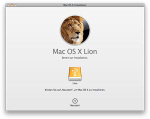 Lion Installationsbildschirm