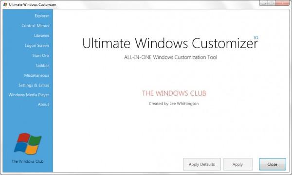 Aus der dA-Gruppe:Ultimate Windows Customizer – Viele Einstellungen mit einem Tool für Win 7 und Win 8