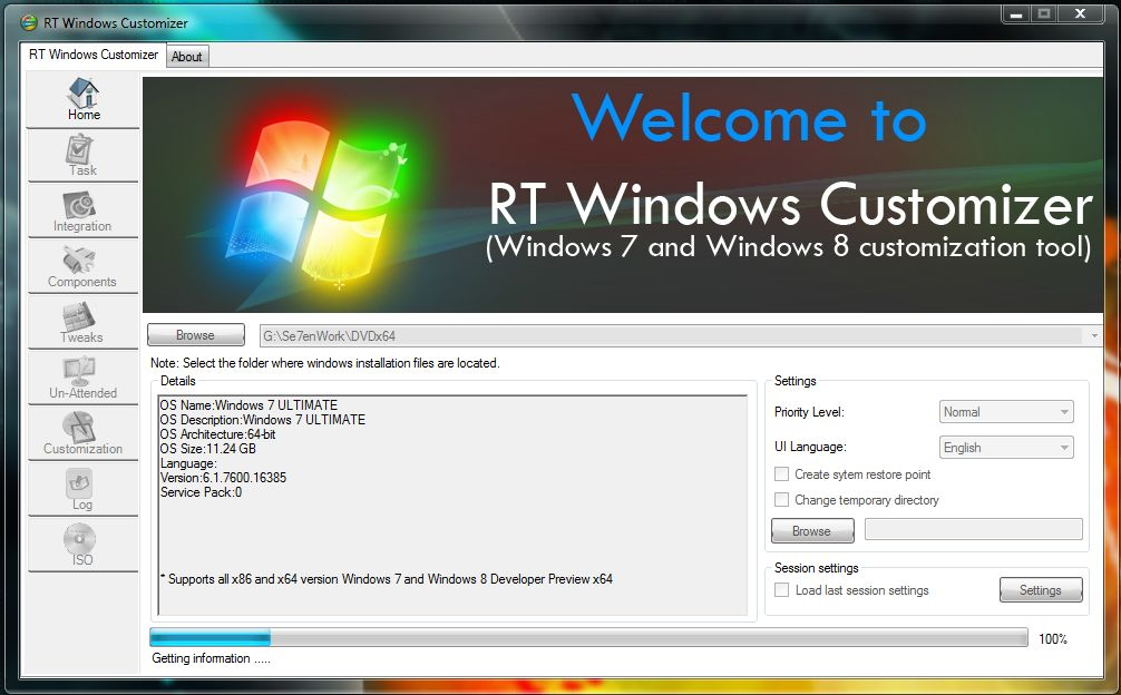 Seine eigene Windows-DVD erstellen mit RT Windows Customizer