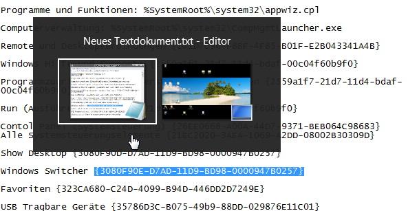 Systemlinks, Verknüpfungen, CLSIDs für Windows 8