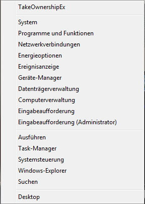 Das Win+X Quick Access Menü aus der Taskleiste starten