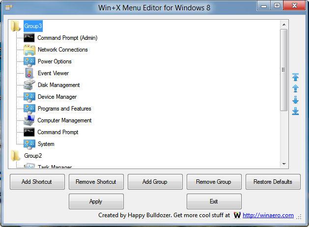 Win+X Menu Editor zum bearbeiten des Schnellstartmenüs Windows 8 Update