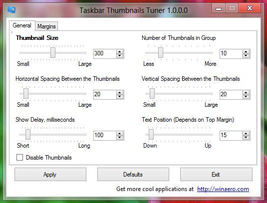 Taskbar Thumbnails Tuner Taskleistenvorschau verändern