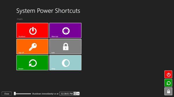 System Power Shortcuts – Herunterfahren, Neustarten als Metrokacheln