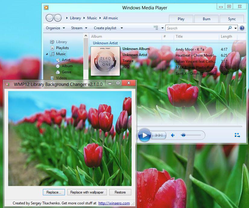 Hintergrund des Windows Media Players 12 ändern