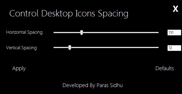 Desktop Icons Spacing Controller – Abstände der Desktopicons verringern oder erweitern