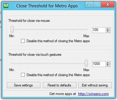 Close Threshold for Metro Apps – Windows 8 Apps schneller schließen