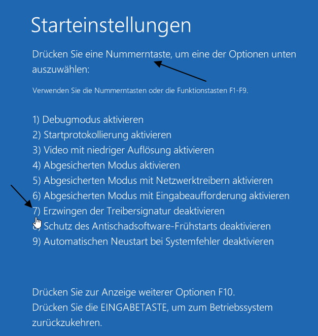 Digital unsignierte Treiber installieren – Windows 8