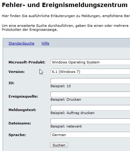Windows Fehlermeldungen, Error ID, Fehlercodes überprüfen