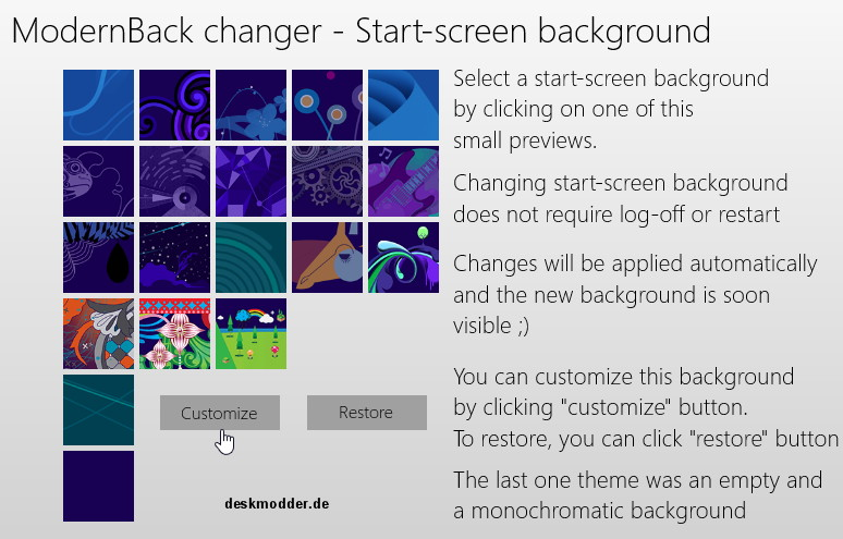 ModernBack Changer – Starthintergrund ändern – Windows 8
