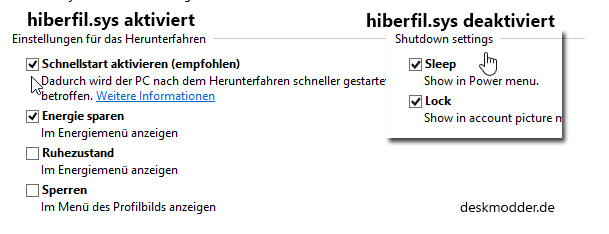 Hybridboot – Schnellstart deaktivieren, aktivieren Windows 8 RTM