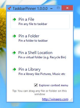 Taskbar Pinner – Ordner, Papierkorb, Bibliothek an die Taskleiste anheften