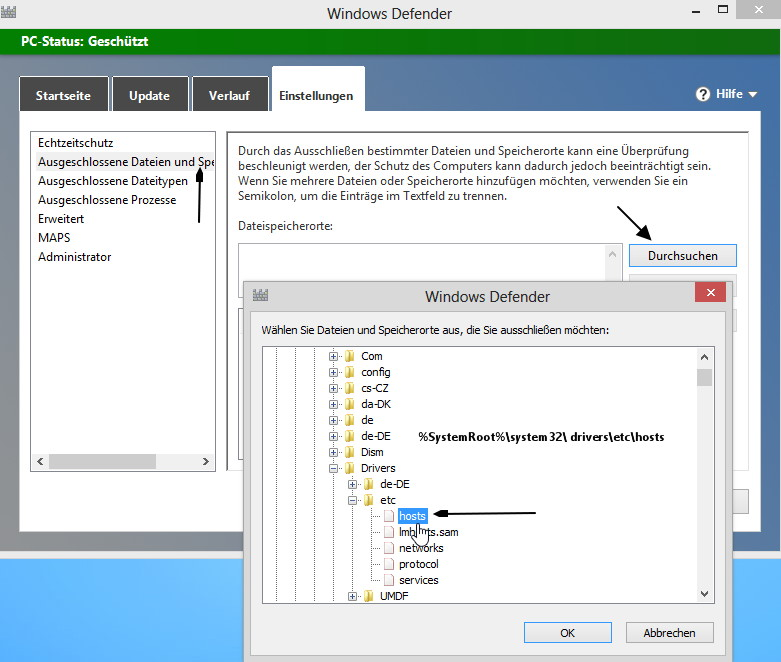 Windows 8 Defender setzt eine geänderte hosts Datei zurück
