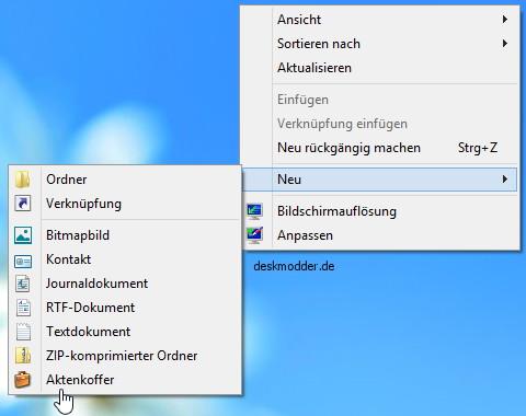 Den Aktenkoffer ins Kontextmenü von Windows 8 und Windows 10 hinzufügen