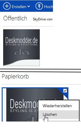 SkyDrive erhält einen Papierkorb