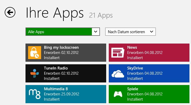 Windows Apps bekommen zum Start von Windows 8 viele Updates