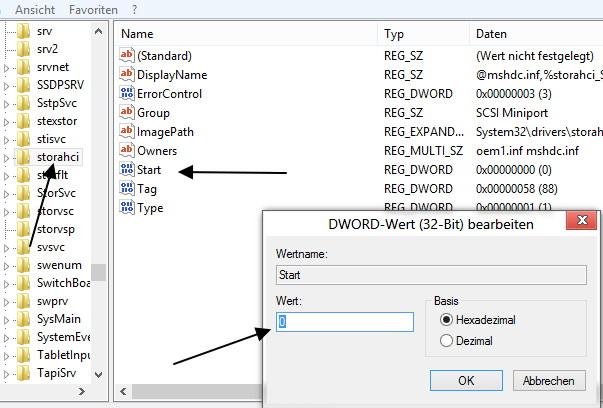AHCI nachträglich aktivieren unter Windows 8,  8.1 und Windows 10