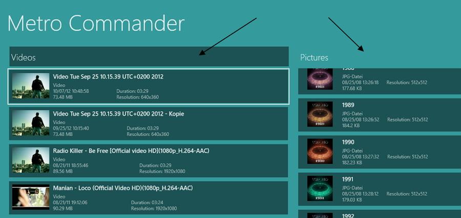 Metro Commander – Ein typischer DateiCommander als App für Windows 8