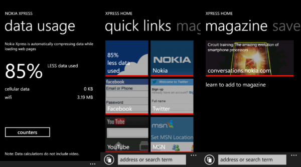 Nokia Xpress: Windows Phone Browser, der Traffic spart