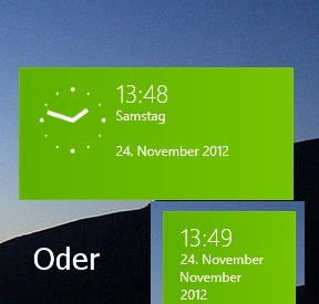 Uhr als Kachel -Tile- für Windows 8