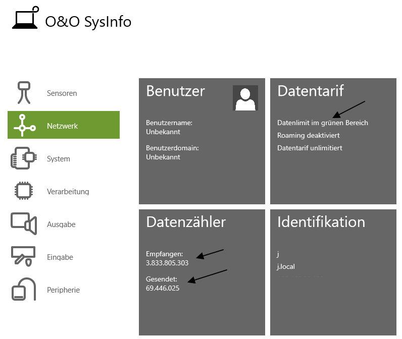 O&O SysInfo  Informationen vom System anzeigen lassen als Windows 8 App