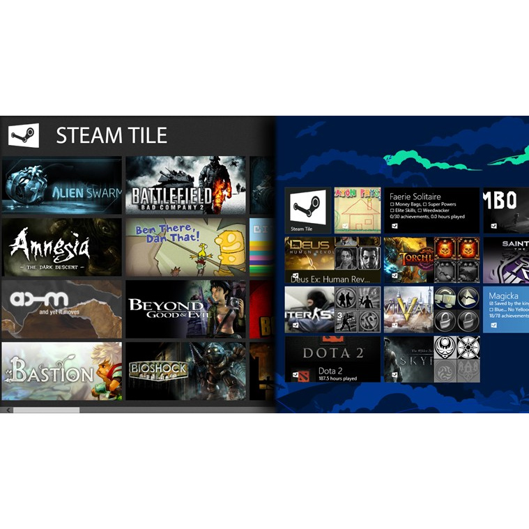 Steam Tile Windows 8 App für Steam Spiele