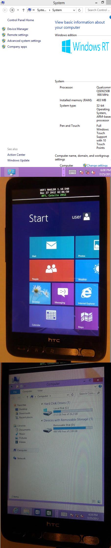 HTC HD2 mit Windows 8 RT zum laufen gebracht