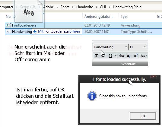 FontLoader – Eine Schriftart – Font- temporär installieren