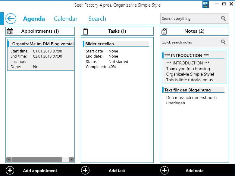 OrganizeMe Simple Style – Termine, Aufgaben, Notizen und ein Kalender in einem