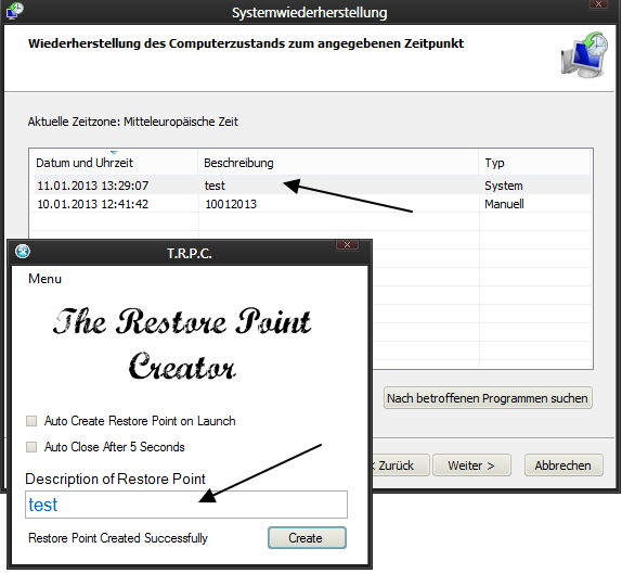 The Restore Point Creator: Schnell einen Wiederherstellungspunkt erstellen