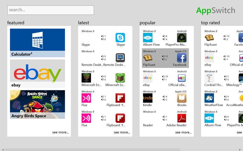 AppSwitch – Windows 8 App zum Suchen von Win 8, Android und iOS Apps