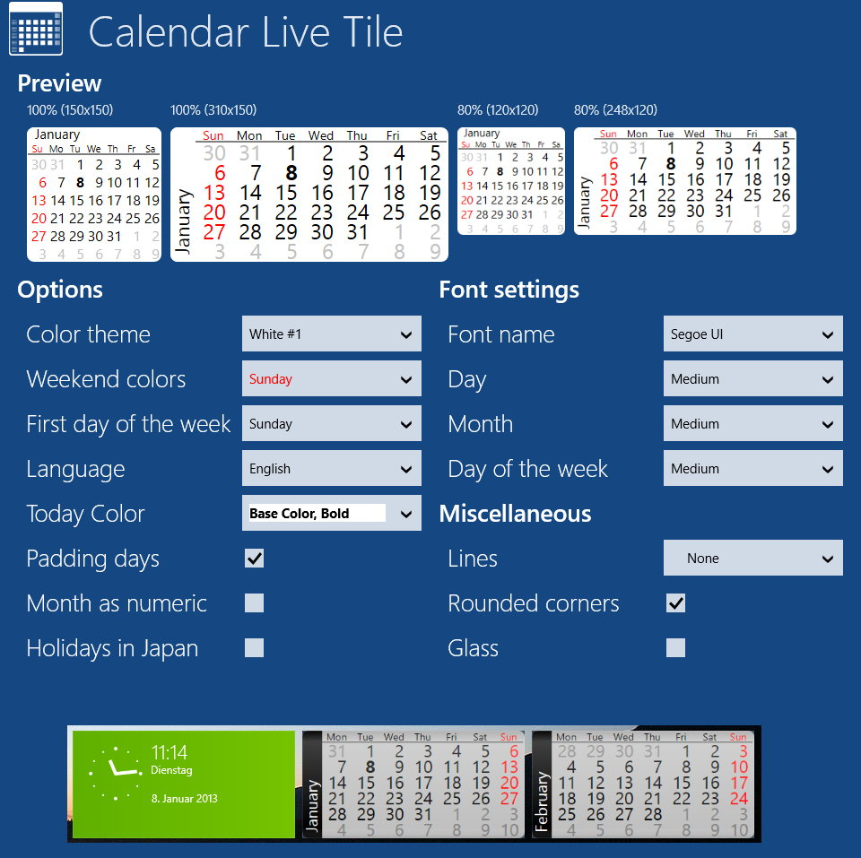 Calendar Live Tile Kalender als Kachel für Windows 8