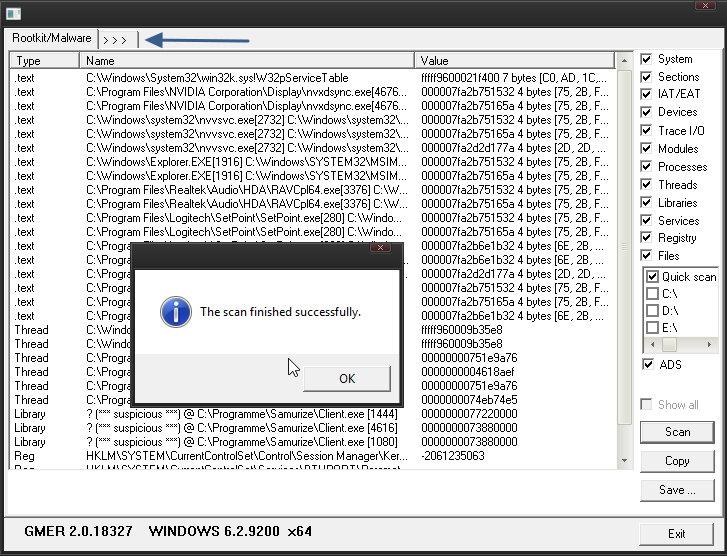 GMER – Das System nach Rootkits absuchen