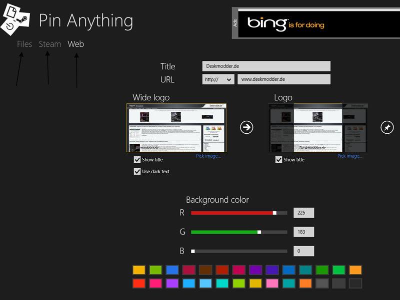 Pin Anything Daten, Steam oder Webseiten in Windows 8 anpinnen