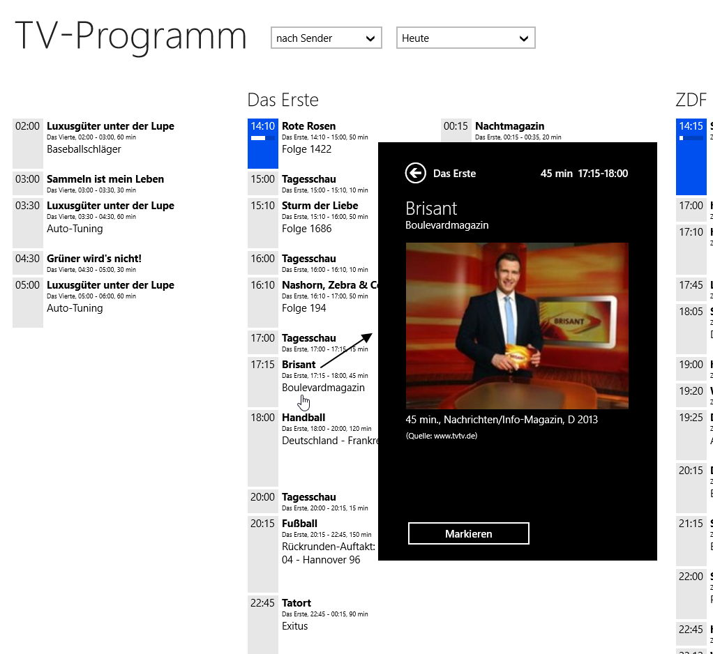 TV-Programm als Windows 8 App