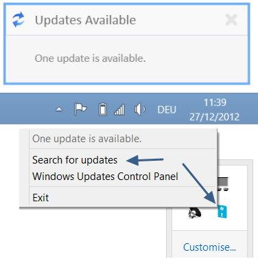 Windows 8 Updates Benachrichtigungen auf dem Desktop anzeigen lassen