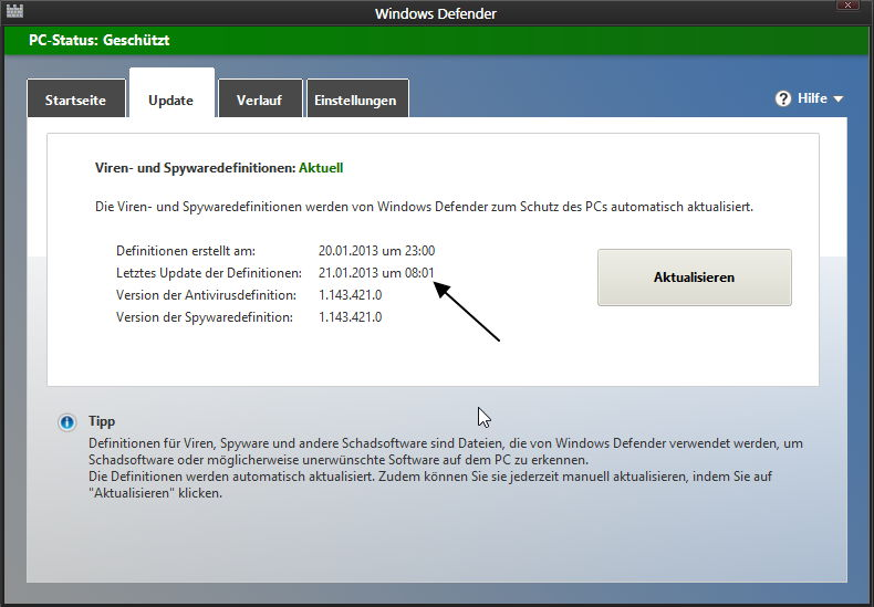 Den Windows 8 Defender ohne Windows Update aktuell halten