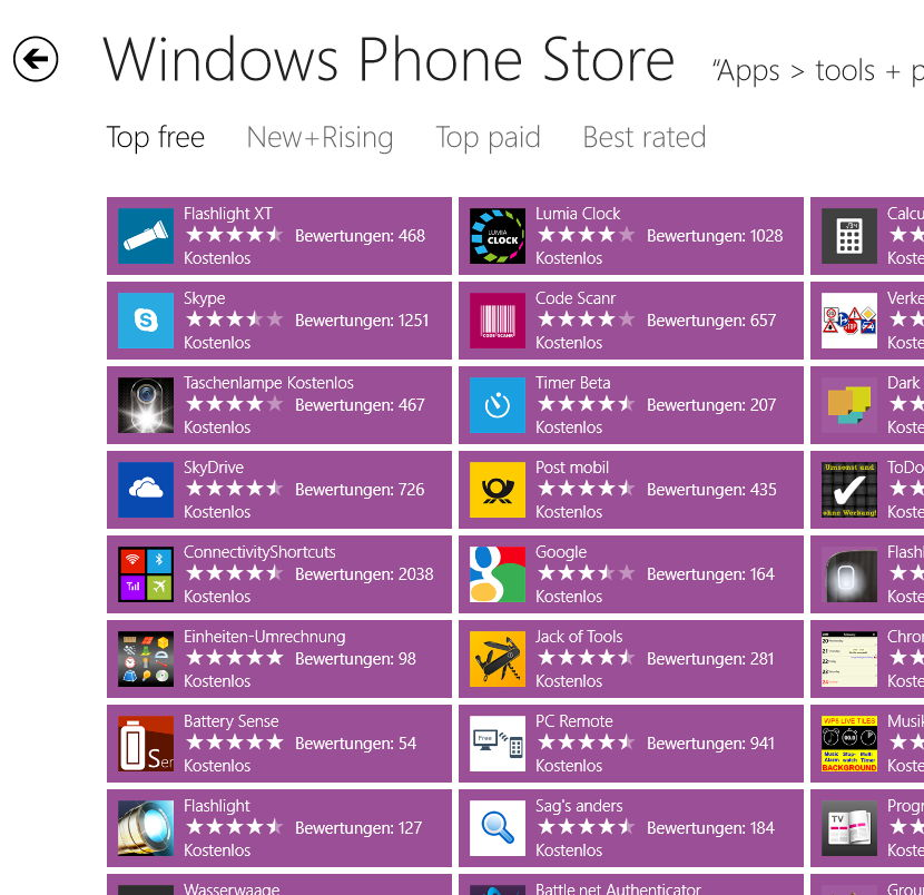 Mit Windows 8 gemütlich Windows Phone Apps suchen