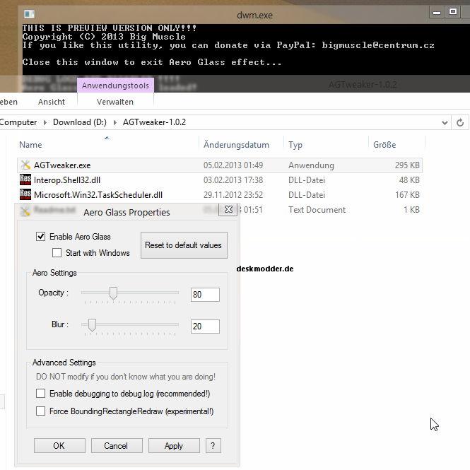 Windows 8 Aero Glass Tweaker und DWMHook 0.3