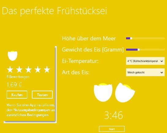 Das perfekte Frühstücksei – Windows 8 App