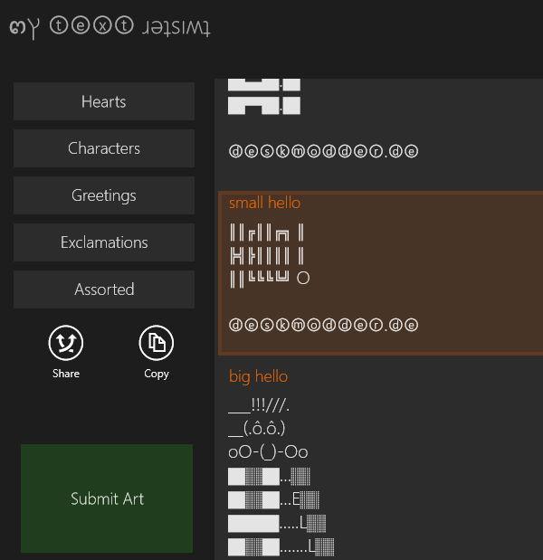 MyTextTwister – Text umdrehen, ASCII einfügen und mit anderen Apps teilen