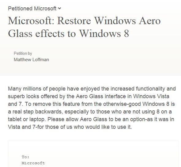 Petition um Microsoft dazuzubewegen Aero wieder einzubauen