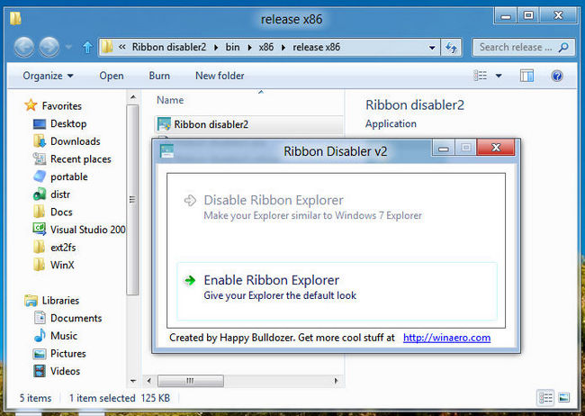 Ribbon Disabler – Ribbon im Explorer entfernen Windows 8