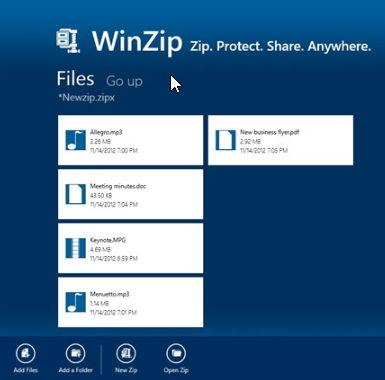 WinZip als Windows 8 App