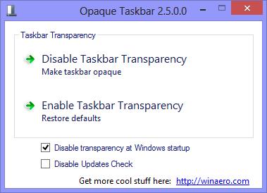 Opaque Taskbar 2.5 Taskleiste unter Windows 8 undurchsichtig machen