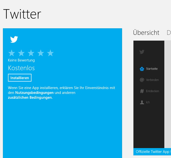 Offizielles Twitter App für Windows 8