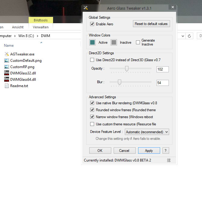 Windows 8 Aero Glass Tweaker 1.3.1 erschienen