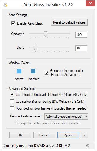Aero Glass Tweaker 1.22 mit der v0.8 Beta 2