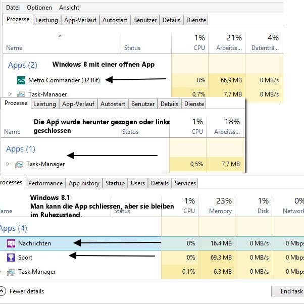 Apps schliessen,  automatisch unter Windows 8.1