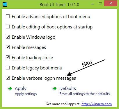 Boot UI Tuner und Opaque Taskbar für Windows 8 mit einem Update